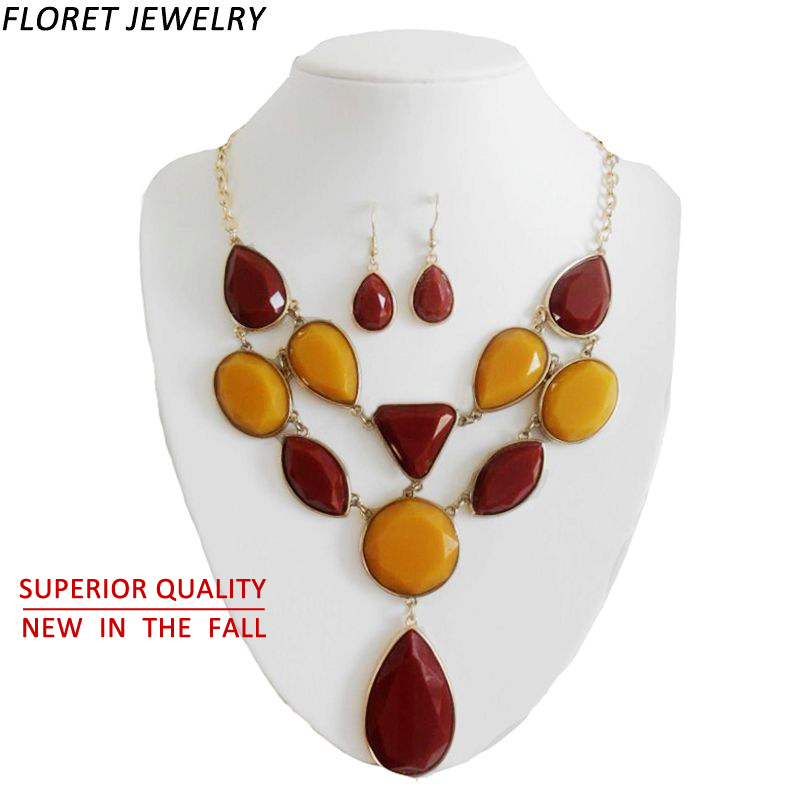 Floret Jewelry 2015 AAA+ Semi-precious Stone Necklace Red Orange Color African Bead Necklace Sets Women Autumn Costume Jewelry(China (Mainland))
