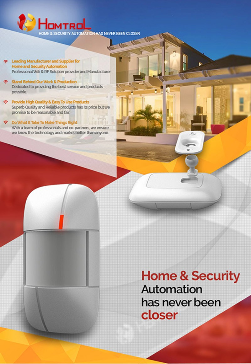 Homtrol New Creative Home and Security RF Wireless PIR Motion Detector Sensor a
