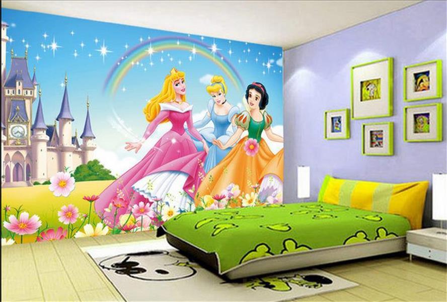 Kids Room Wallpaper Custom 3D HD Photo Mural Non-Woven Wall Sticker HD Cartoon disney Princess Painting Sofa TV Background Mural(China (Mainland))