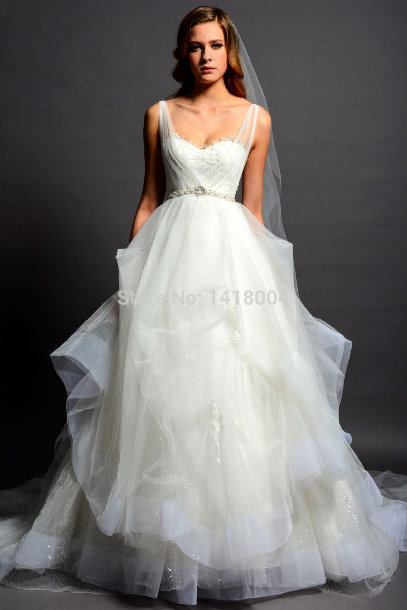 2015 new sexy a line bridal gowns sweetheart sheer straps for Top of the line wedding dresses