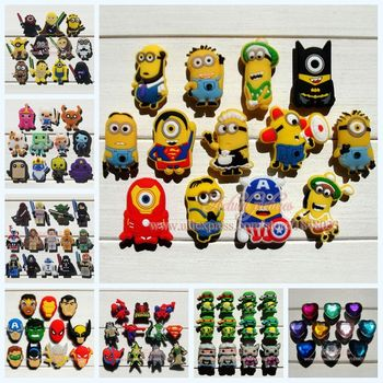 Mixed 11-13Pcs/lot Minions pvc shoe decoration shoe charms fit children croc shoes Accessories Dirthdays party gifts