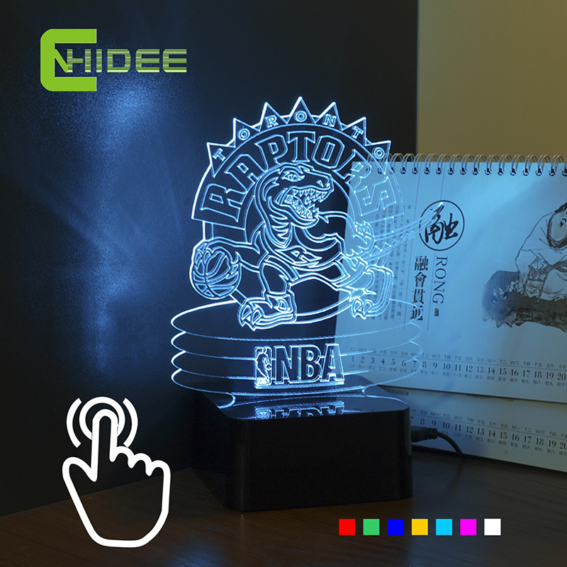 CNHIDEE Innovative USB 3D Lights for Raptor Toronto Colorful RGB LED Touch Lamp as Creative Gifts(China (Mainland))