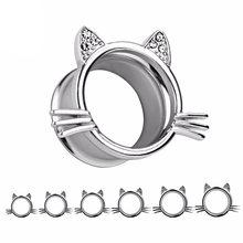 2 unids/set Shellhard tapón de oído de acero inoxidable moda gato oído enchufe gauge Túnel de carne cuerpo oreja joyería expansor piercing(China)