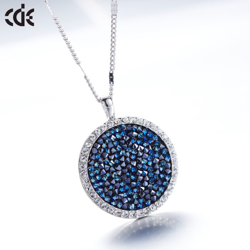 P0358 CDE Crystal From Swarovksi Pendant Necklace Blue Gem-Crystal Fine Jewelry Women 2015 Original Design Modern Fashion Coin(China (Mainland))