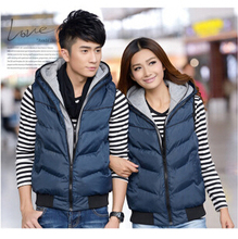 2015 New Spring Autumn Winter New version Popular youth hot sale Men down cotton hooded Thickening lovers vest cheap wholesale(China (Mainland))