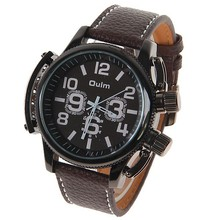Oulm 1357 Male Quartz WristWatch Clock with Two Numbers Hours Marks Round Dial Leather Band Wristwatches