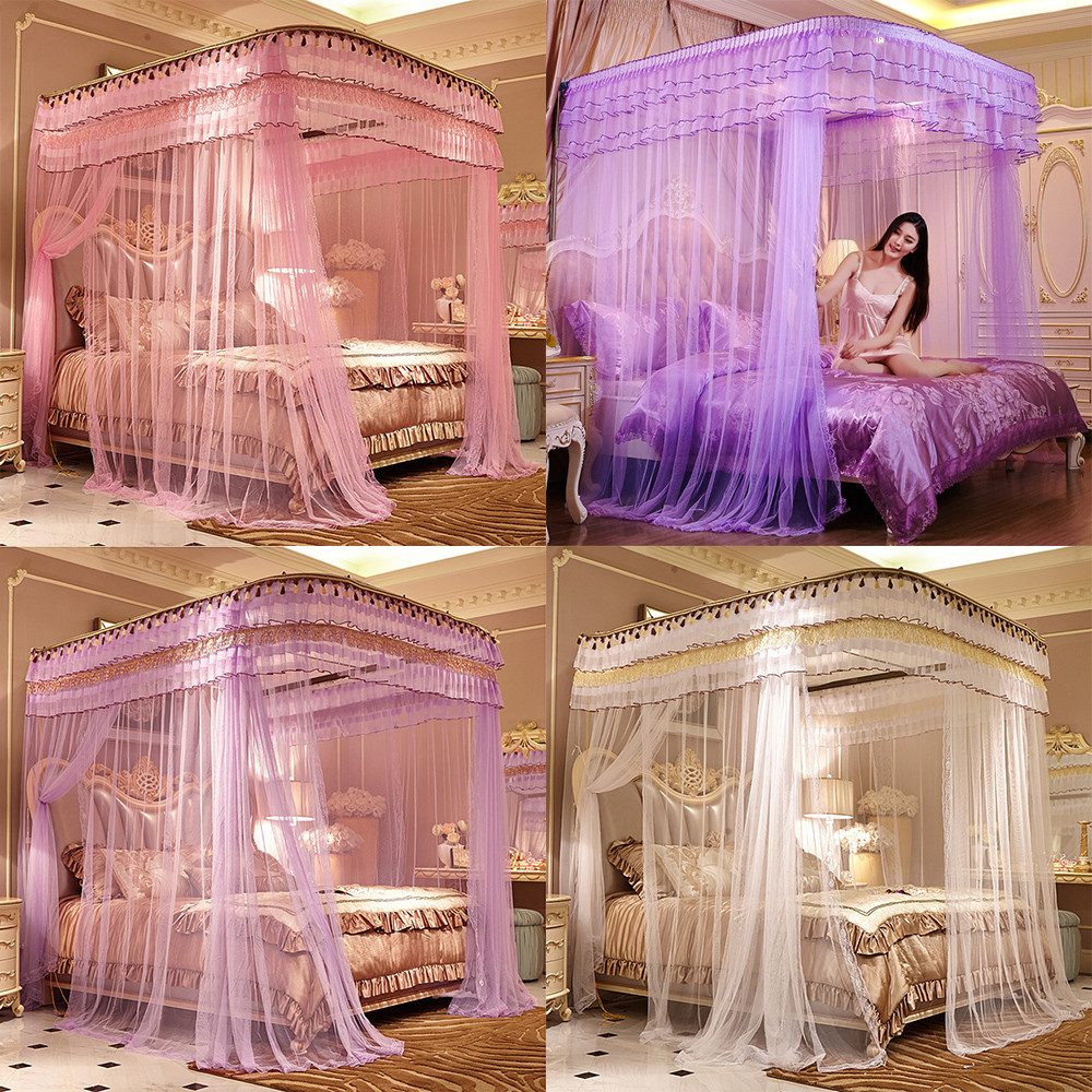 Hot Olympic Romantic Mosquito Net for Bed Canopy Bed Curtain China Lace Stainless Steel Tube Rail Nets(China (Mainland))