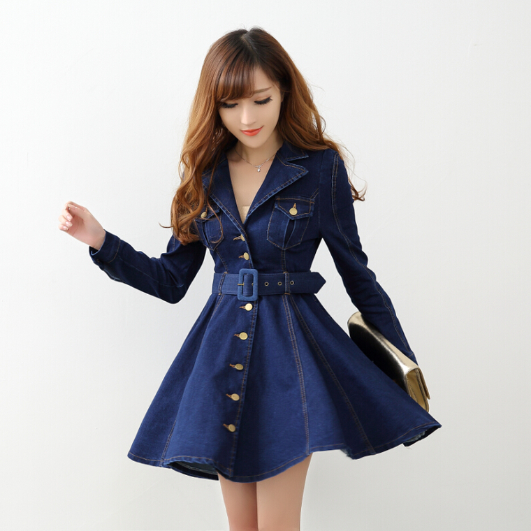 Model Women Long Sleeve Denim Dress Casual Korean Large Size V Neck Women