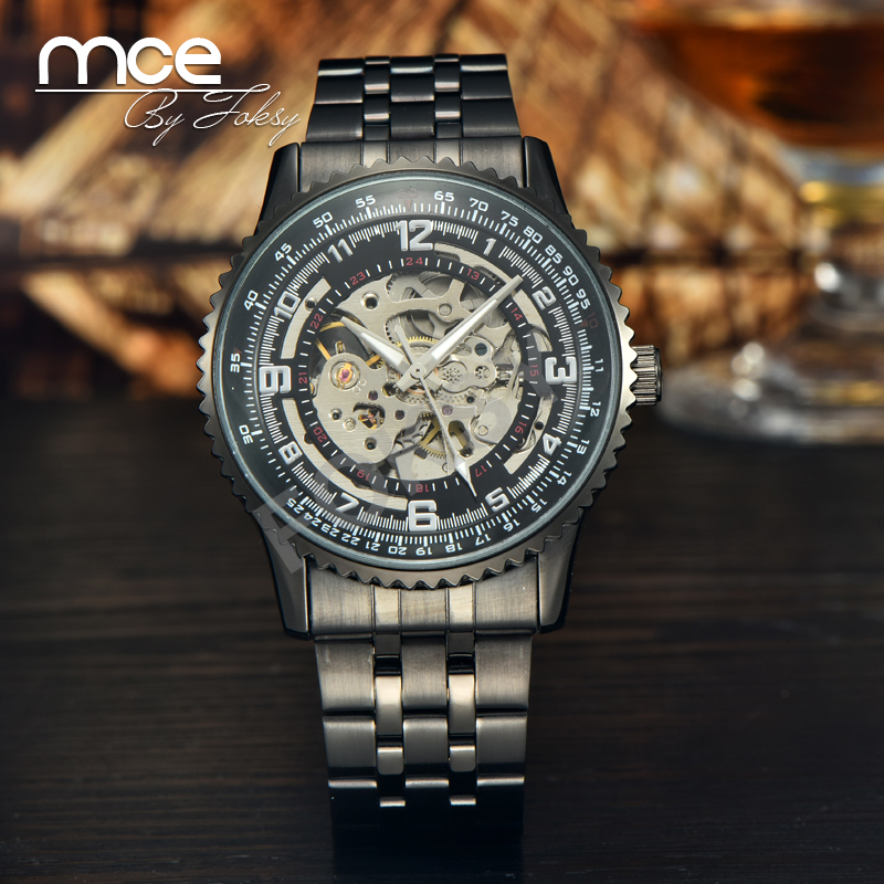 MCE Mens Skeleton Hand Wind Mechanical Black Leather Luxury sport men male Wrist Watches army NEW Multicolor erkek saat 243<br><br>Aliexpress