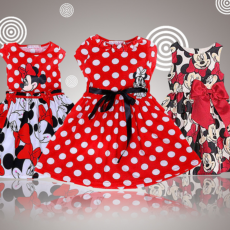 2015 New High Quality Short Sleeve Children Dress Cartoon Mouse Cotton Kids Dresses For Girls For Christmas New Year Clothes(China (Mainland))