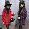 2016 Girl Autumn Winter Plaid Coat Girl School Long Sleeve Casual Outwear Kid Christmas Fashion Warm