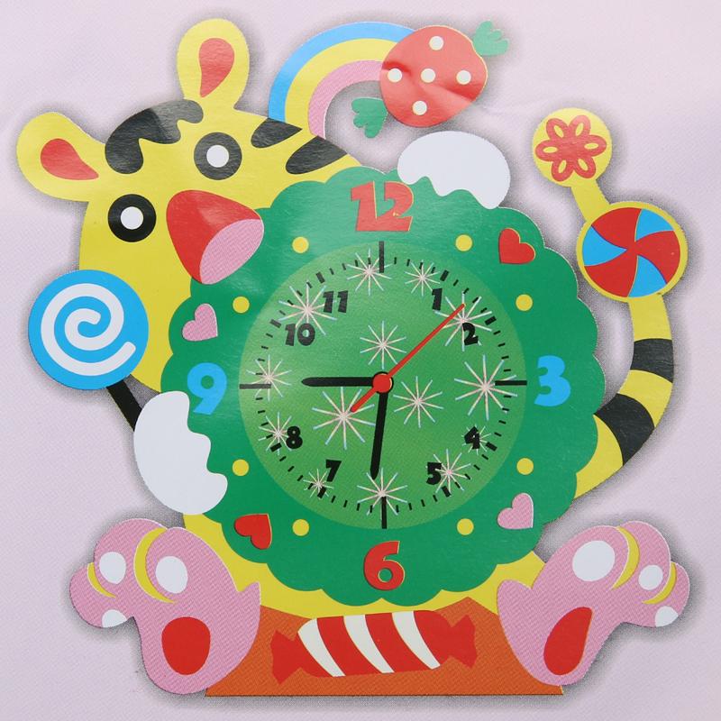 New Cute Model Building Kits Handmade DIY 3D Animal Learning Clock Kids Crafts Educational Toy(China (Mainland))