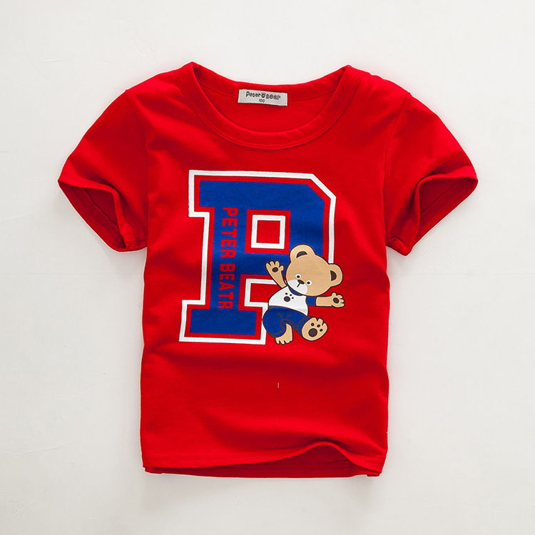 Fashion print boys tops cotton o-neck short sleeve boys t shirt summer red boys clothes size 3,4,6,8,10T in stock K1539(China (Mainland))