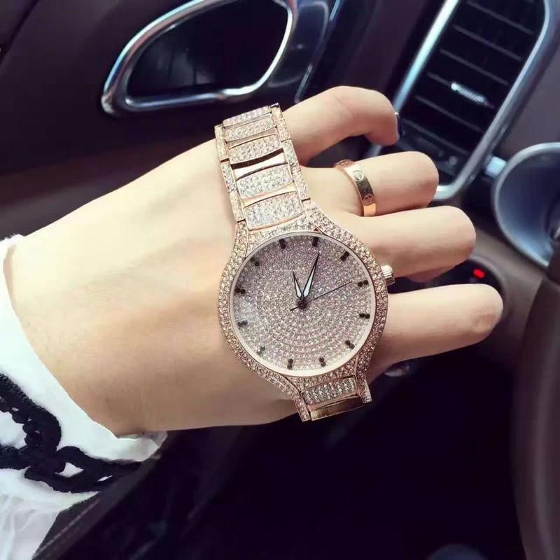 3 цвет марка Женщины Rhinestone Часы Розовое Золото Платье Часы Полный Diamond Crystal женщин Роскошные Часы с Девушкой reloj mujer