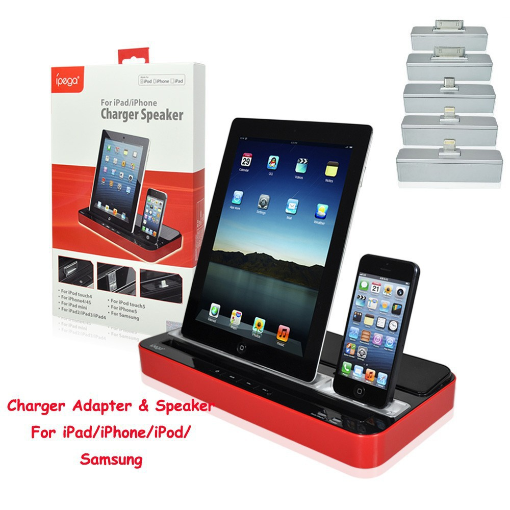 ipega PG-IP115 Multi-purpose Charging Stand Dock with Speaker for iPhone /iPad /iPod /Samsung Black White Red<br><br>Aliexpress
