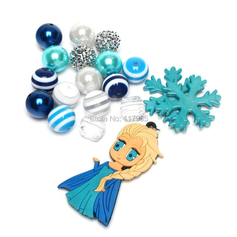Princess Elsa Pendant Girls Bubblegum Necklace Aqua Snowflake Gumball Beads Chunky Necklace DIY Kits(China (Mainland))