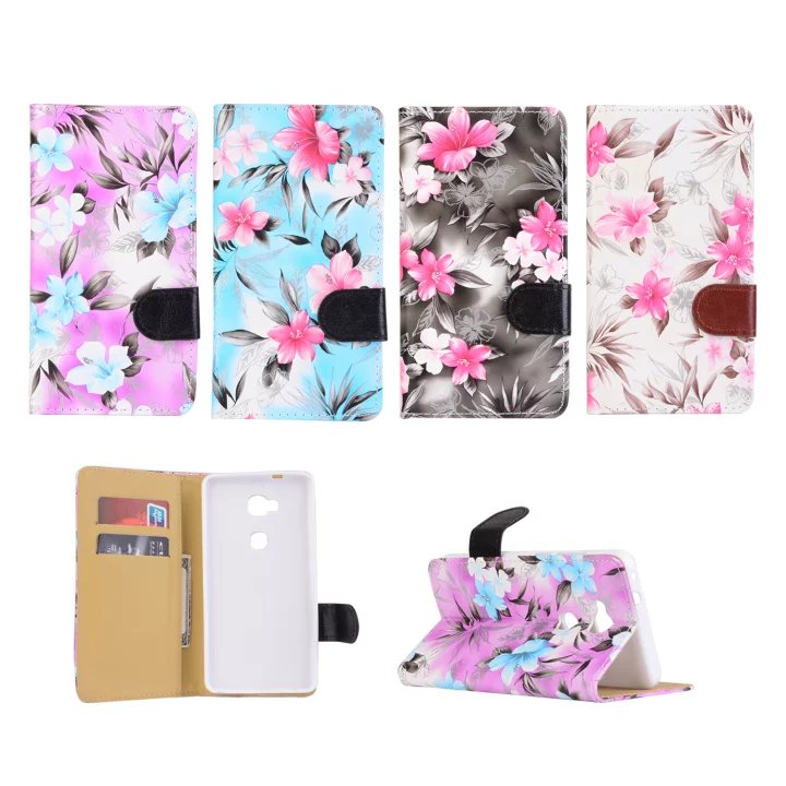 Fashion Broken flowers Series Painting PU Leather Flip case For Huawei Honor 5X Y5 Y560 Stand Wallet holster protector cover B(China (Mainland))
