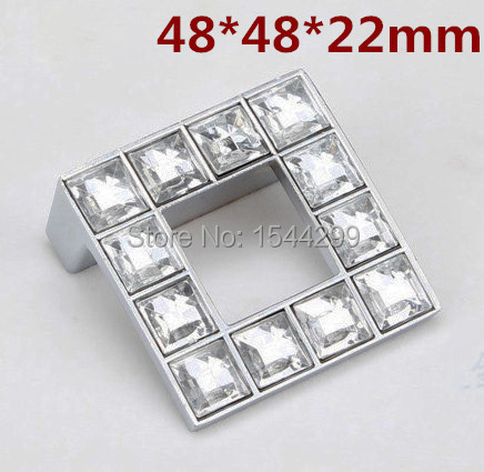 5pcs 48*48mm 1.89 inch Crystal Glass Furniture Knobs Cabinet Door Handle drawer pulls<br><br>Aliexpress