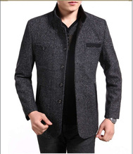2014 Winter High Quality Men's Cotton and Linen Woolen Coats Business Casual Overcoat Fashion Wool coat men Windbreaker jacket(China (Mainland))