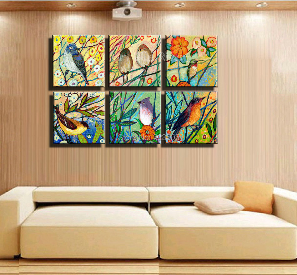 wall art abstract tree birds decorative picture landscape oil painting
