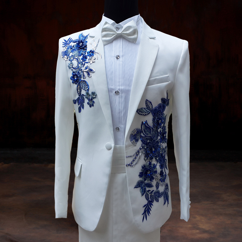 2015 wedding groom dress paillette suits clothes male formal dress costume white for singer dancer performance formal prom(China (Mainland))