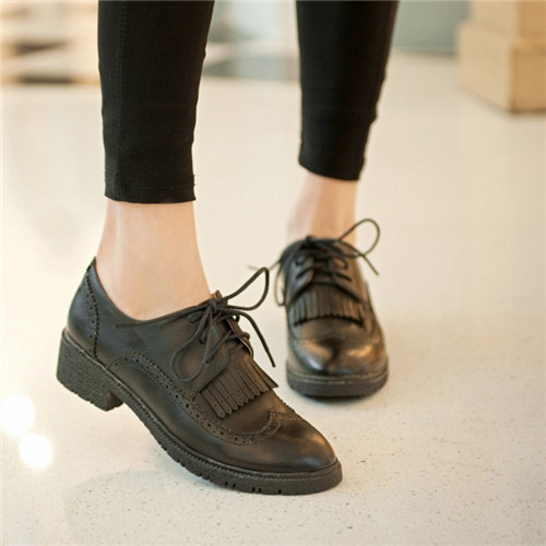 2015 Spring Autumn New Womens Retro Round Toe Brogue Shoes Tassels Lace Punched Details Oxfords mid Heel US4.5-9