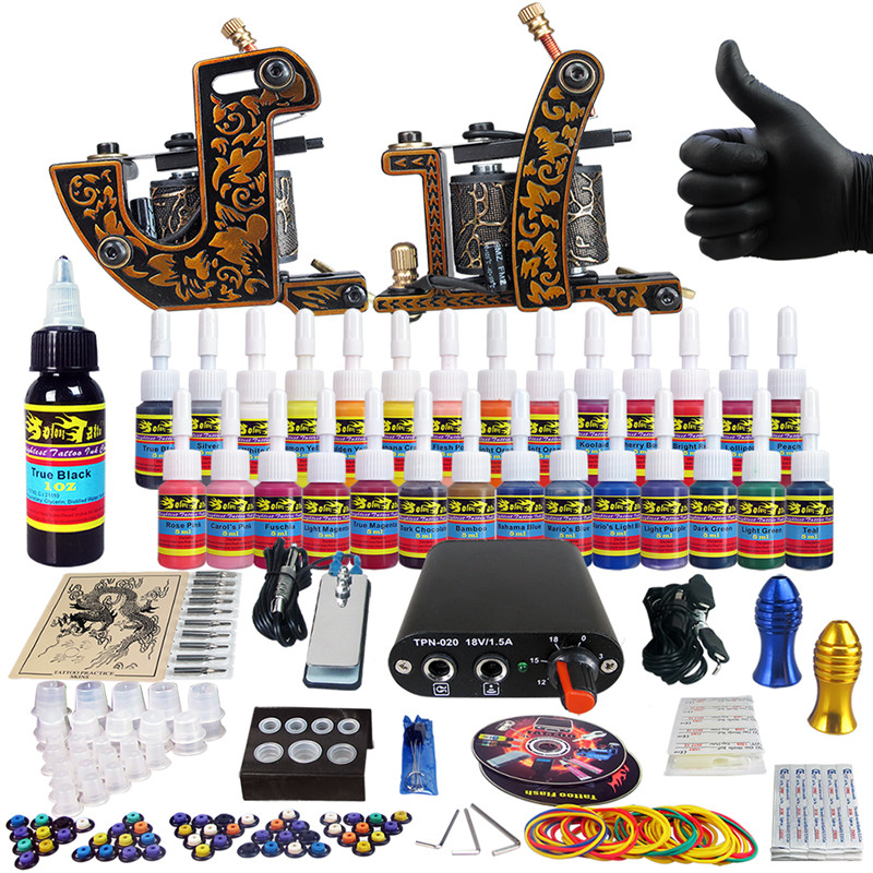 Complete Tattoo Kit for Beginner Starter 2 Pro Machine Guns 28 Inks set Power Supply Foot Pedal  Needle Grips Tips CD TK204-30<br><br>Aliexpress