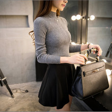 turtleneck sweater long-sleeved thin render unlined upper garment cultivate one's morality joker who solid color sweater(China (Mainland))