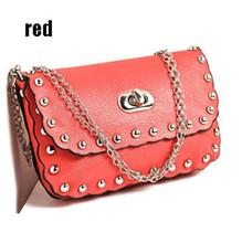 18.5 см * 12 см * 3 см новый горячая распродажа модели роскоши заклепки цепь пакет плеча сумку женщины сумки bolsas w6