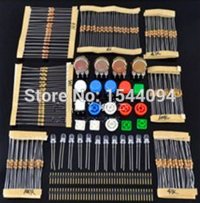 1 sets Handy Portable Resistor Kit Arduino Starter UNO R3 LED potentiometer tact switch pin header - A+++ Electronics Maker store