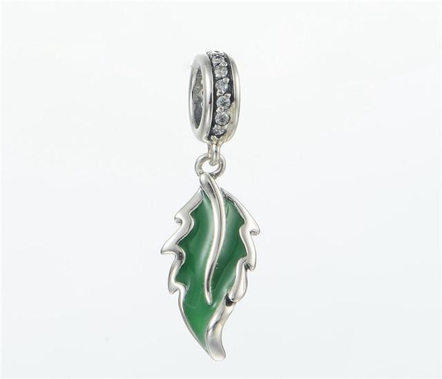 Стерлингового серебра 925 эмаль зеленый лист CZ камни мотаться бусины для женщин DIY создание приспосабливать европейские браслеты и ожерелье