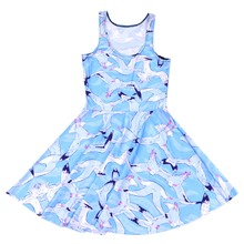 1152 Fashion Women's 3D printing Seagulls prints elastic summer sexy Girl skater one-piece pleated dress