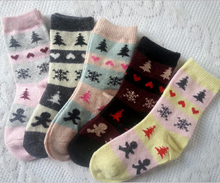 Free Shipping 2-12 Years old Children Warm Rabbit Wool Socks For Kid Socks 2015 New Winter Girls Snowflake Thermal Socks S193(China (Mainland))