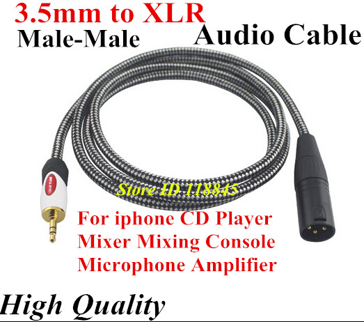 1m 2m 3m # Stereo 3.5mm to XLR male 3pin Audio cable For iphone CD Mixer Mixing Console Microphone Amplifier High Quality(China (Mainland))