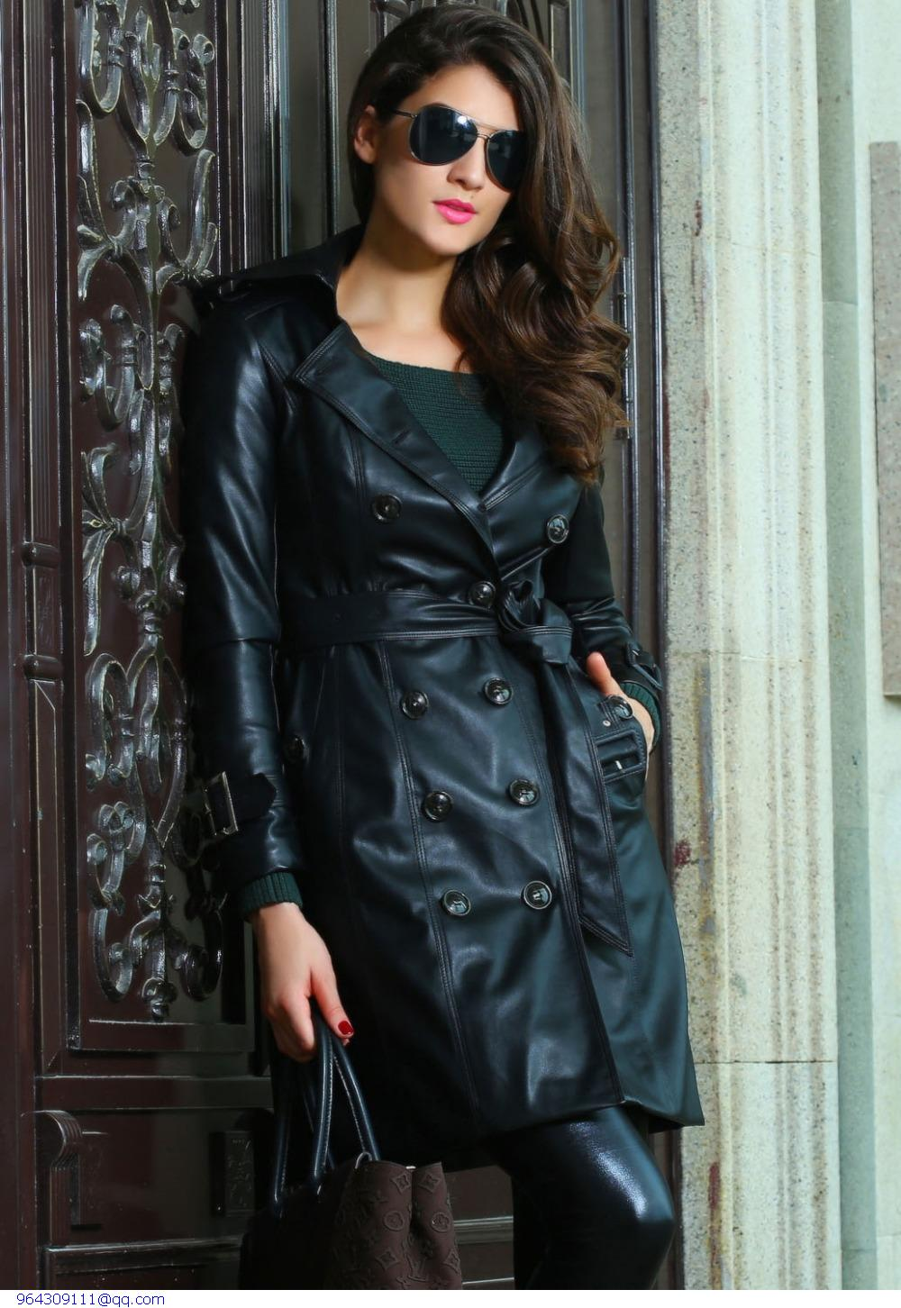 Women Autumn&Winter Hot Sale  Fashion Black Leather Womens Long Trench Coat Jacket abrigos mujer manteau femme
