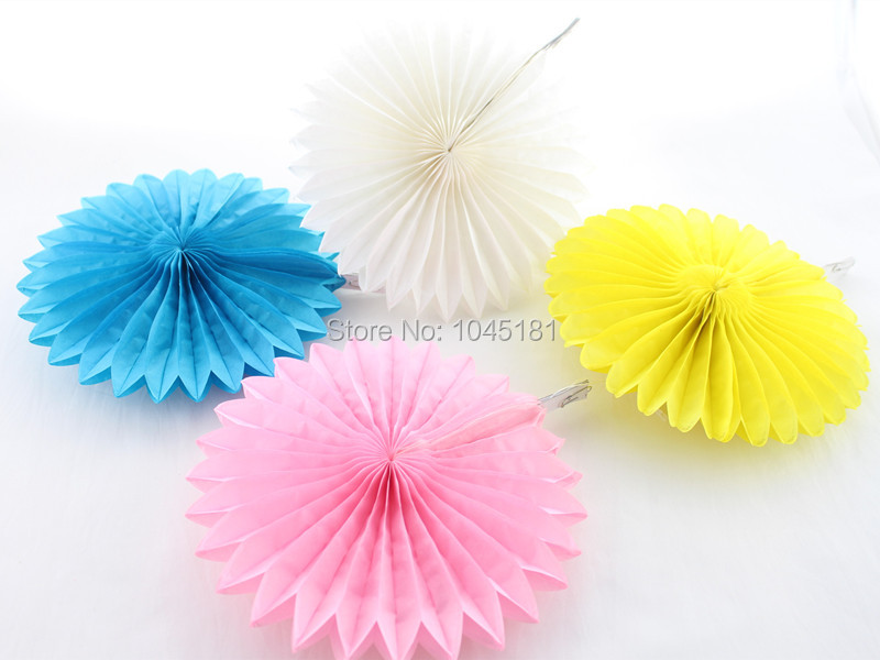 """Free Shipping!!! Colorful 10"""" Hanging Paper Fan Wedding Baby Shower Party Decoration Tissue Paper Fan(China (Mainland))"""
