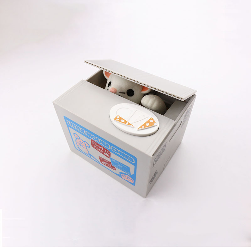 Automated Cute Animal Chees Mouse Stealing Money Box Piggy Bank Box Coin Saver Saving Box For Kids Children Gift(China (Mainland))