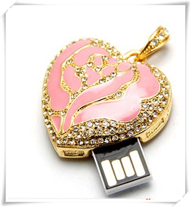 Pink hearts metal Jewelry Diamond usb flash drives USB 2.0 Memory Drive Stick Pen/Thumb/Car 4gb 8gb 16gb 32gb 64gb S360(China (Mainland))