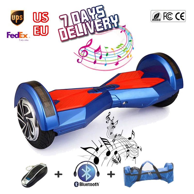 2 wheels Self Balancing Scooter 8inch Hover Board with Bluetooth Music Led Light 4400mah Electric Skateboard Sale China UL2272(China (Mainland))