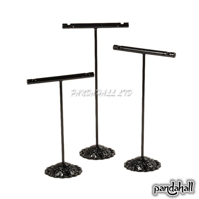 T Bar Iron Earring Displays Sets, Jewelry Display Rack, Jwvelry Tree Stand, Hanger For Earrings Black, 90~125x60x34mm(China (Mainland))