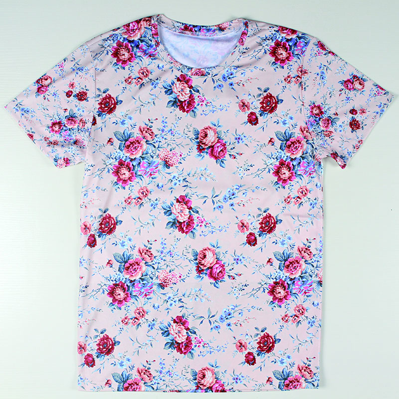 Letter Printed Flower Men T Shirts Round Neck Camisetas