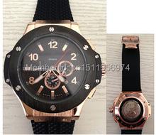 2014 nuevos hombres de lujo del reloj automático explosión hombres vestido relojes vidrio volver transparente edición límite negro rubber band
