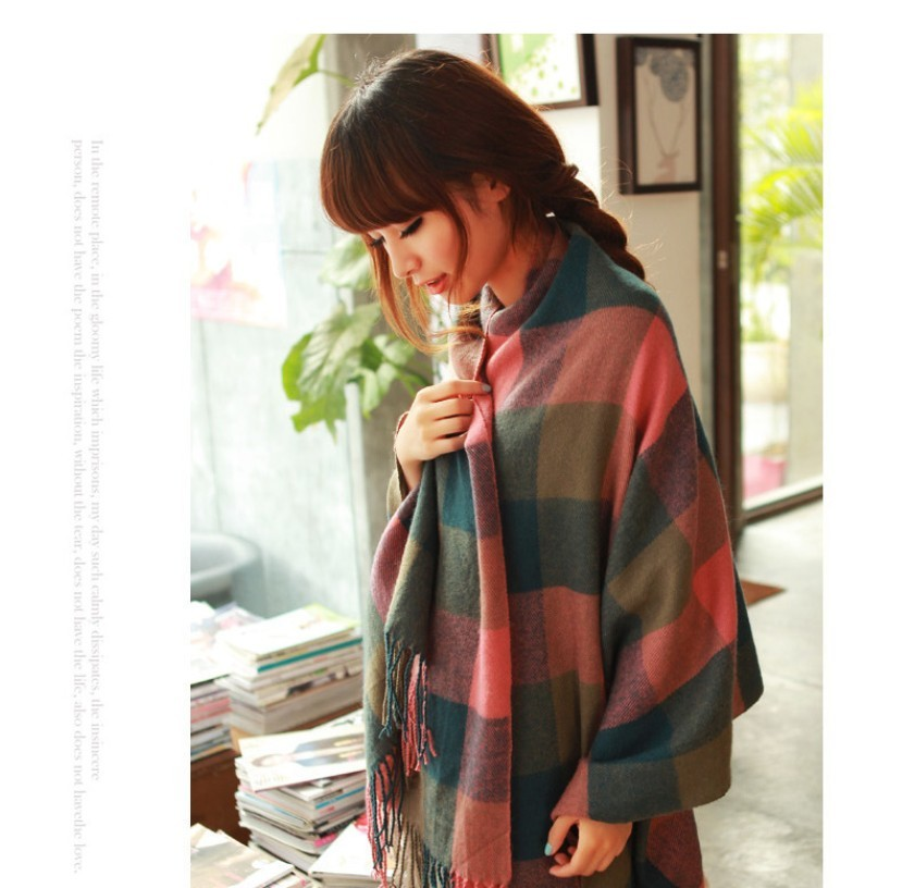 Wool Winter Women Scarf Elegant Lady Spain Desigual Brand Fall Thick Plaid Scarf  for Female scaves