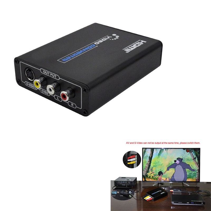 Mini HD Video Converter Box HDMI to RCA/SVIDEO AV Converter Adapter Upscaler Support 720P/1080P with RCA/S-video Cable(China (Mainland))