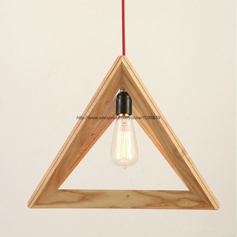 Free shipping modern wooden triangle shuttle pendant light for Ceiling lamp wood