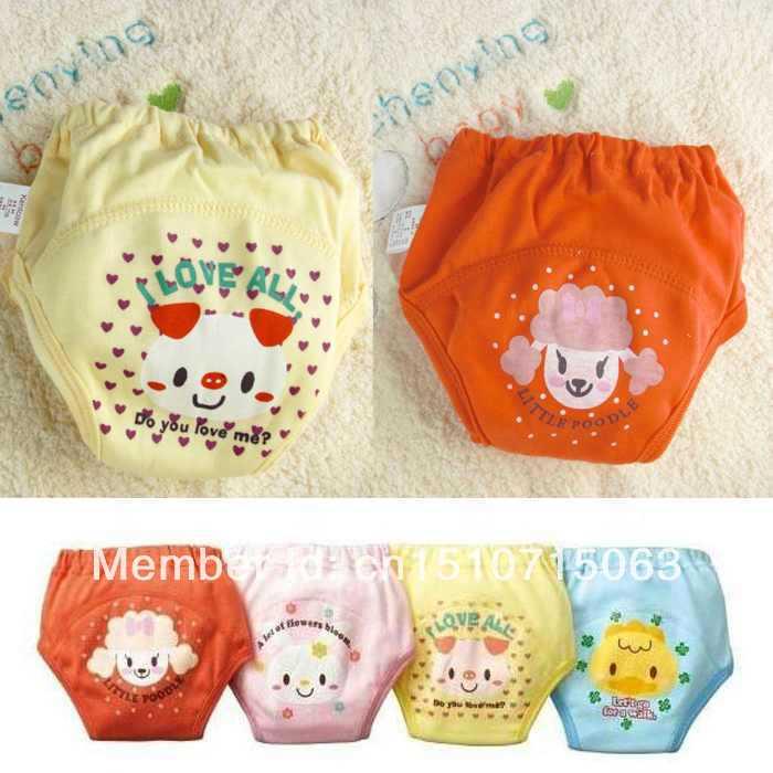 4pcs/set cartoon baby training pants waterproof diaper pant potty toddler panties newborn underwear Reusable free shipping FjmuS(China (Mainland))