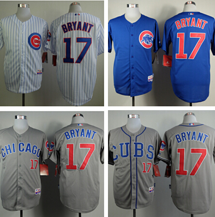 Hot Sale   2015 Kris Bryant Jersey Chicago Cubs 17 White Blue Grey All stitched Custom Jerseys