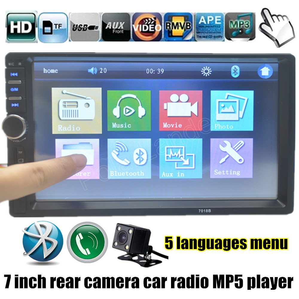 7 inch HD Touch screen 2 Double DIN MP5 MP4 Player Car FM Radio Bluetooth with rear view camera audio video USB TF FM AUX(China (Mainland))