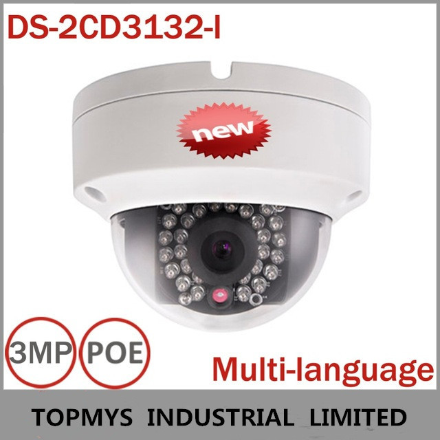 Original IP Camera Multi-language DS-2CD3132-I Full HD 1080P 3MP Latest V5.2.5 IR POE Power Network Home security IP Camera(China (Mainland))