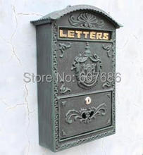 Cast Iron Mailbox Postbox Mail Box Dark Green Wall Mount Metal Post Letters Box Garden Yard Patio Lawn Outdoor Art Free Shipping(China (Mainland))